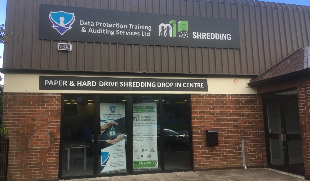 front of shredding building